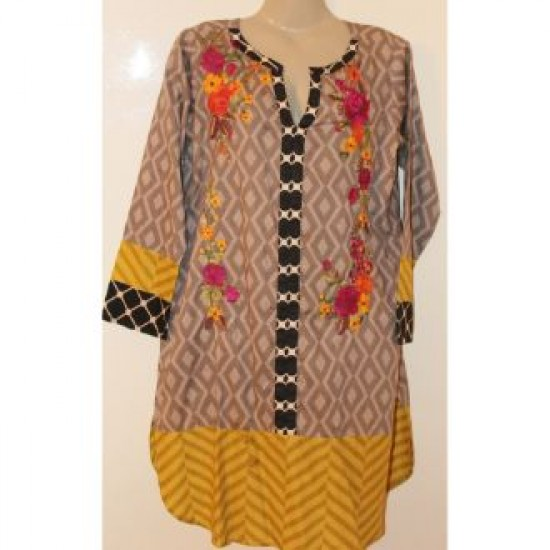 Khaadi Printed Lown Shirt With Front Side Embroidery