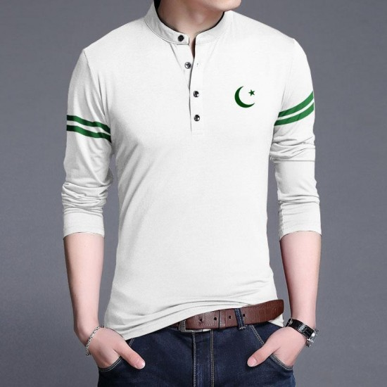 Independence Day - 14 August Green and White T ShirtFor Men Design 41