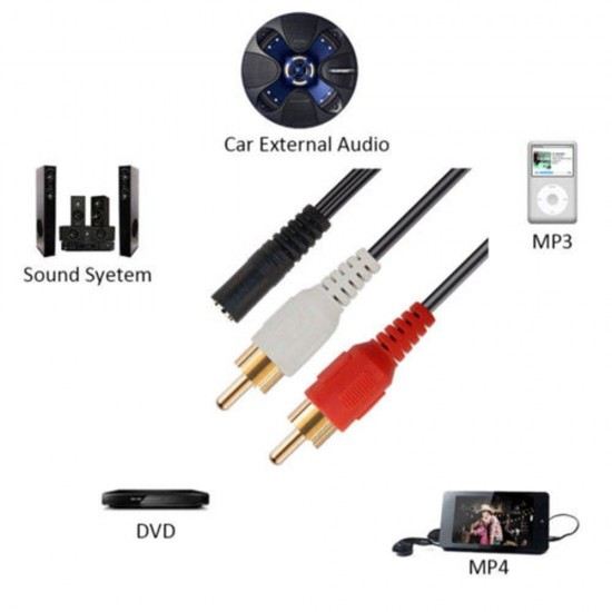 3.5mm Adapter 2RCA Audio Cables Stereo AUX Female To Mini Jack To Male 2 RCA Plug Splitter Connector Wire