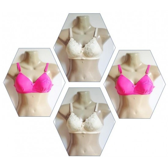 (Pack of 4) Soft Cotton Bra for Women