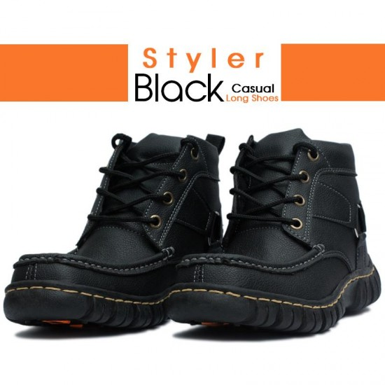 Styler Black Casual Long Shoes1