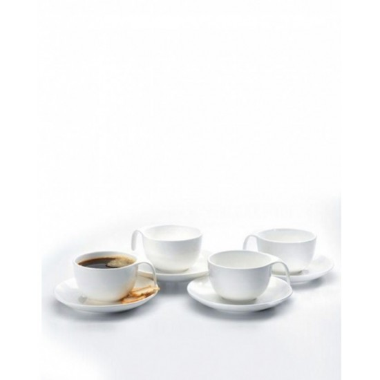 Jazz Cup And Saucer - 8 Pieces - White