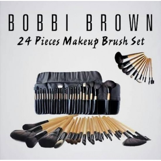 Pack Of 24-Cosmetic Brushes With Pouch-Black
