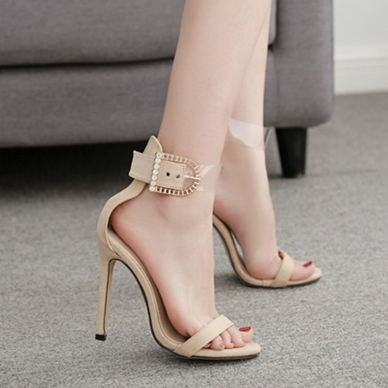Women's Summer Casual Fashion Buckle Scrub Cutout High Heels Shoes