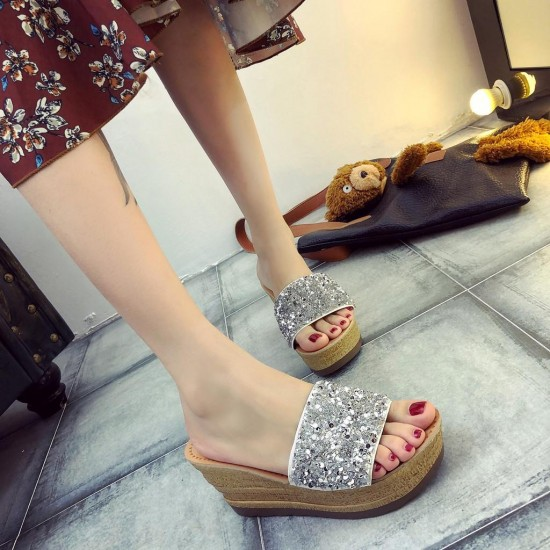 Women Mid-Heeled Wedges Platform Sandals Fashion Sequins Shallow Mouth Slippers
