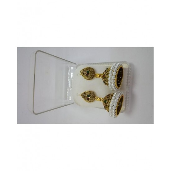 Dall Golden Artificial Jhumki Multi Stone & White Moti Earrings for Wedding, Party and Family Occasion