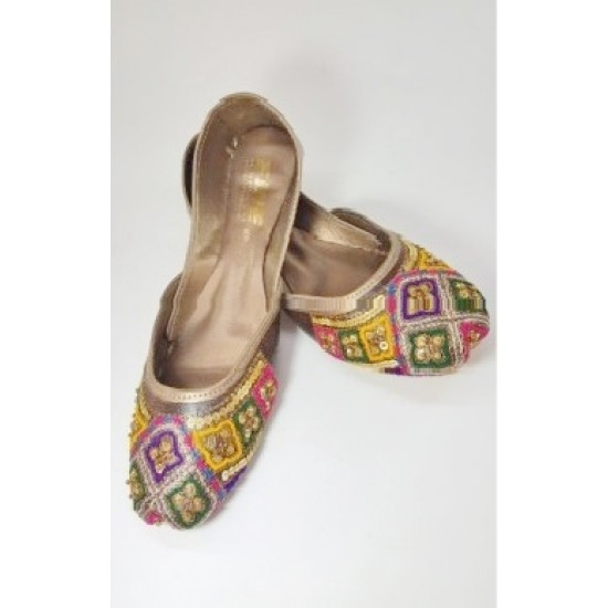 Dark Brown Leather With Multi Colour Embroidered Closed Toe Khussa For Women - Size - 10