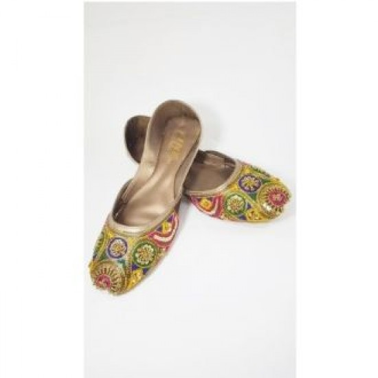 Leather Embroidered Multi Color Hand Made Multani Khusa For Women -size - 6