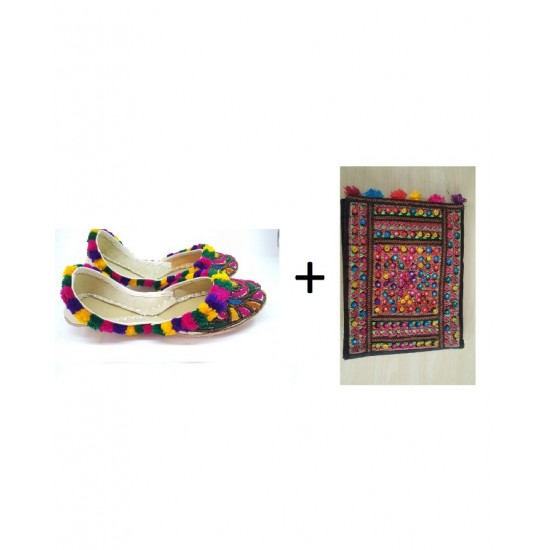 (PACK OF 2) Leather Embroidered Traditional Khussa For Her - multi Colour - Size -13 - Multicolor Hand Bag For Women Sindhi Style Bag