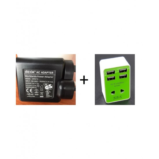 (Pack Of 2)Universal Travel Adapter-Dc 5V 3.6A(Max)-Ac220V-Green-Mobile Charger 2A 5V Dc Input 100-240Vac 50/60 Hz-Black