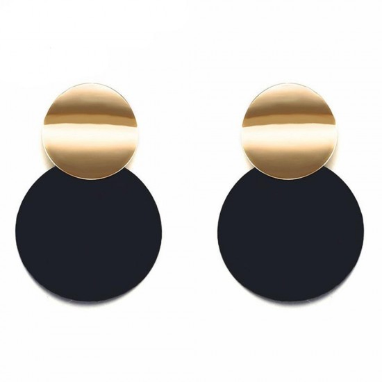 WOMEN'S DISC DROP ROUND EXAGGERATED EARRINGS