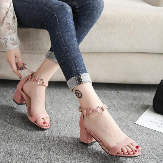 Women's Fashion Casual Solid Square Heel Mid Heels Ladies Shoes Open Toe Sandals