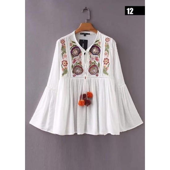 White Floral Kurtis Embroidered stitched Kurti for Girls -S-09