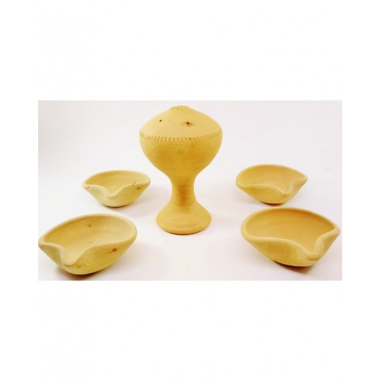 (PACK OF 5 ) Craft Exclusive Clay Made Red Agarbatti / Incense Stick Stand - Clay Diya Pot