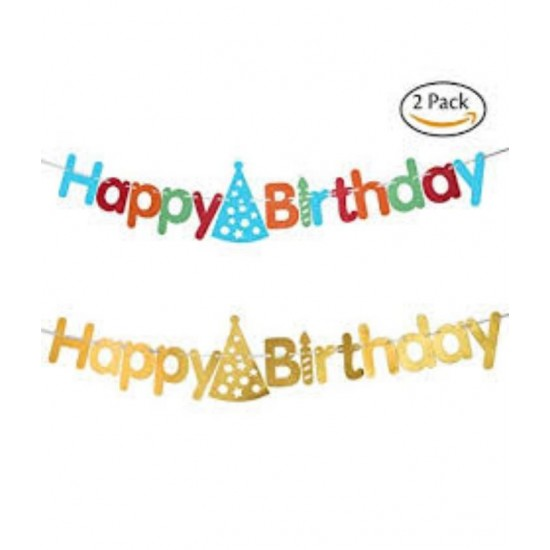 (PACK OF 2) AMAZING Happy Birthday Banner- Multicolour