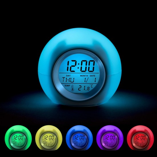Clock Wake Up Easy Setting Digital Clock for Boys Girls, 7 Colors Changing LED Light Large Display Time/Date/Temp/Alarm with Snooze, Bedside Clock, Night Light Clock - Best Gift for Kids