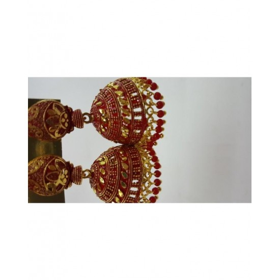 Beautiful Dull Golden  Jhumki With Red Plus