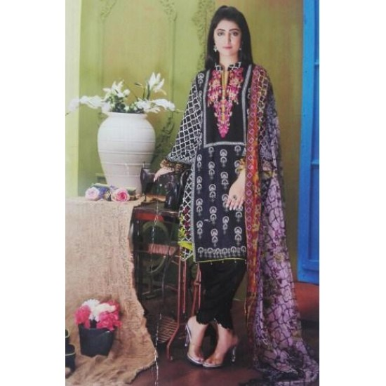 3PC Linen Suit With Embridered Neck and Net Dupatta for Womens-Unstich