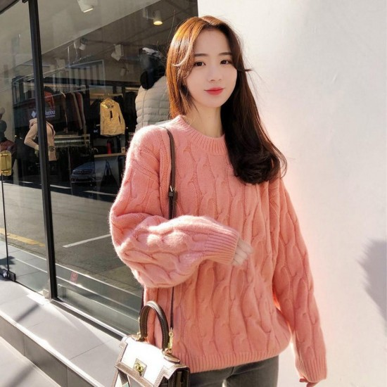 Women Casual Loose Knitting O-Neck Tops Long Sleeve Warm Lazy Wind Sweater