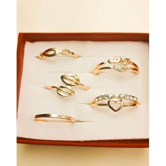 Pack Of 5- Golden Rings With Crystal Stone For Girls & Women