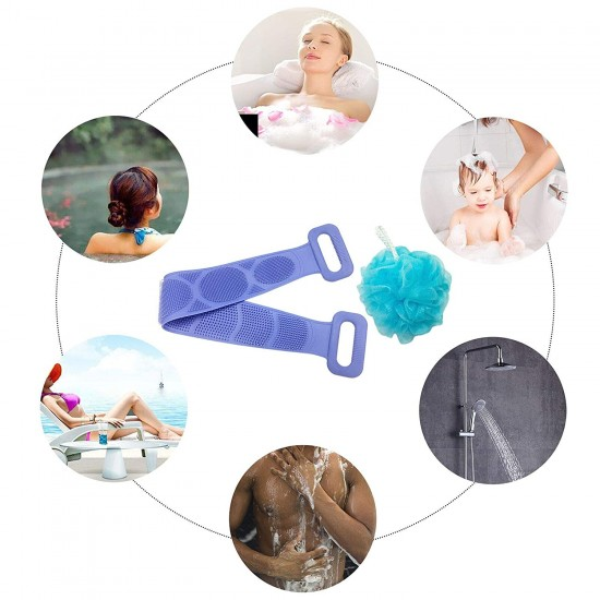 Back Scrubber for Shower Silicone Bath Hand Body Washer Soft Comfortable Exfoliating Texture Scrubbing Pad with One Bath Sponge