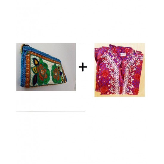 (PACK OF 2) Handmade Embroidered Clutch for Women - Kurti In Leelain For Girls